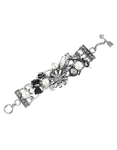 Betsey Johnson Sunburst and Crystal Toggle Bracelet-CRYSTAL-One Size