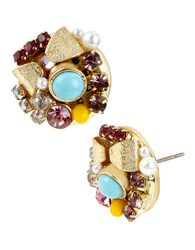 Betsey Johnson Bow And Crystal Cluster Round Stud Earring-MULTI COLOURED-One Size