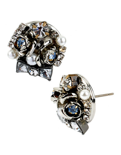 Betsey Johnson Bow And Flower Cluster Round Stud Earring-SILVER-One Size
