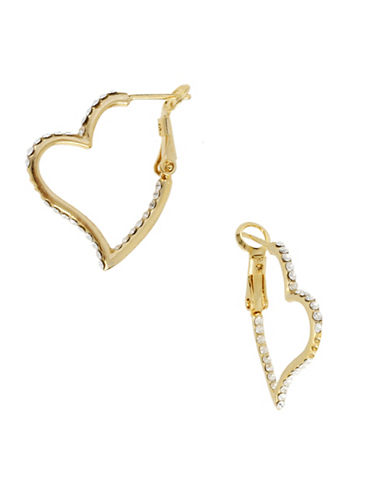 Betsey Johnson Pave Crystal Heart Hoop Earrings-GOLD-One Size