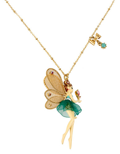 Betsey Johnson Fairy Pendant Necklace-GREEN-One Size