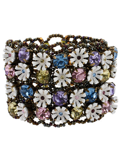 BETSEY JOHNSON Flower  Crystal Stretch Cuff Bracelet multi