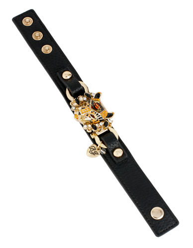 Betsey Johnson Leopard Faux Leather Snap Bracelet-BLACK-One Size