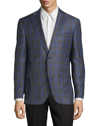 Savile Row Wool Plaid Blazer-BLUE-40 Short