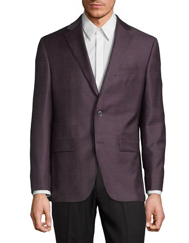 Savile Row Wool Plaid Blazer-BURGUNDY-40 Short