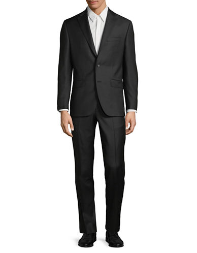 Savile Row Classic Wool Suit-BLACK-46 Regular