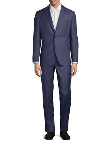 Savile Row Classic Wool Suit-BLUE-42 Tall