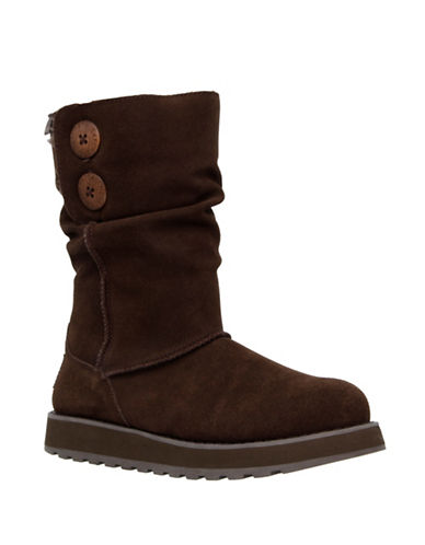 Skechers Womens Keepsakes Freezing Temps Suede Winter Boots-BROWN-7