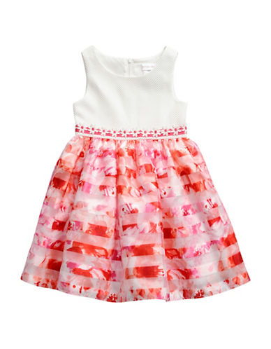 Sweetheart Rose Striped Organza Dress-WHITE-4
