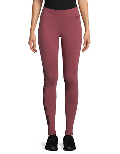 Nike Logo-Print Leggings-RED-Large