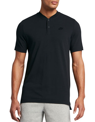 Nike Knit Cotton Polo-BLACK-Large