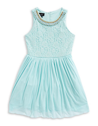Ally B Embellished Lace Bodice Dress-GREEN-14