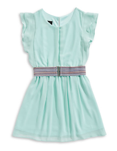 Ally B Belted Flutter-Sleeve Dress-GREEN-14