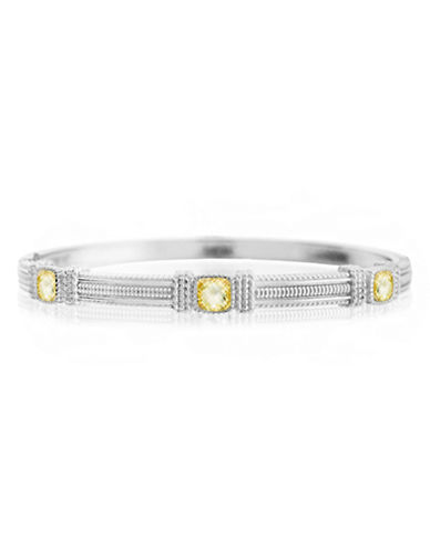 Judith Ripka La Petite Three Stone Bangle-CRYSTAL-One Size