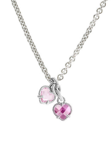 Judith Ripka La Petite Twin Heart Necklace-CORUNDUM-One Size