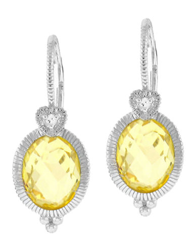 Judith Ripka La Petite Oval Earring on wire-CRYSTAL-One Size
