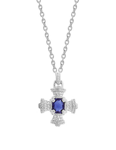 Judith Ripka Ambrosia Maltese Cross pendant on 17 inch chain-BLUE-One Size