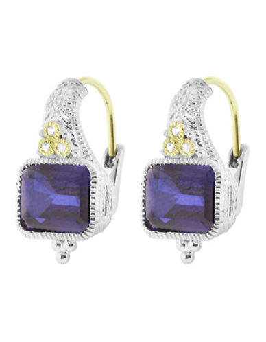 Judith Ripka Estate Cushion Earring On Wire-CORUNDUM BLUE-One Size
