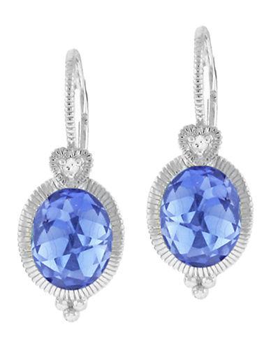 Judith Ripka La Petite Oval Earring On Wire-BLUE CORONDUM-One Size