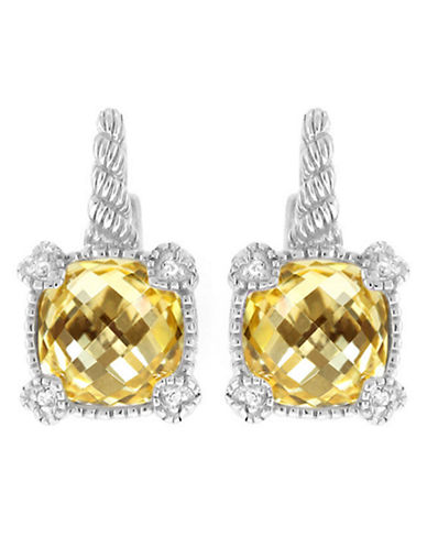 Judith Ripka La Petite Cushion Stone Earring on wire-CRYSTAL-One Size