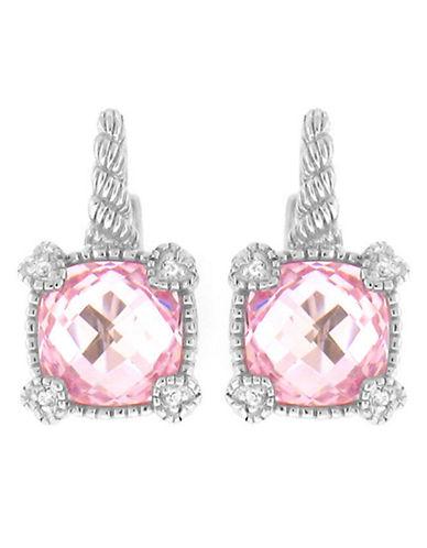 Judith Ripka La Petite Cushion Stone Earring on wire-CRYSTAL-One Size