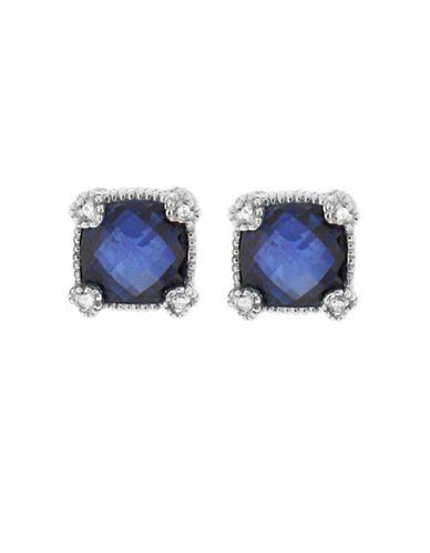 Judith Ripka La Petite Cushion Stone Stud Earring-BLUE CORUNDUM-One Size
