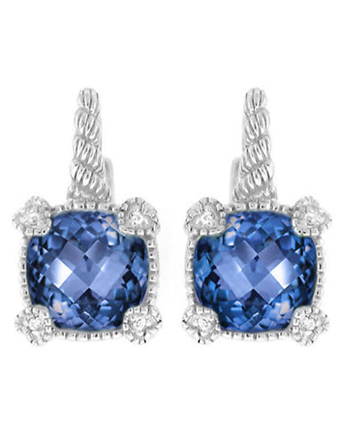 Judith Ripka La Petite Cushion Stone Earring on wire-BLUE CORUNDUM-One Size