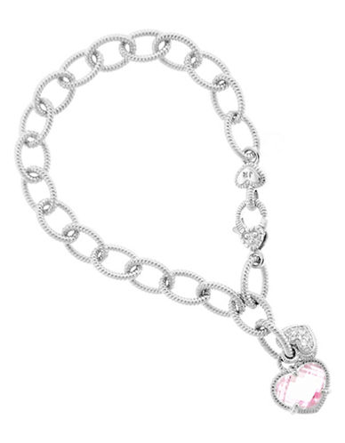 Judith Ripka Link Charm Bracelet with dangling hearts-CRYSTAL-One Size
