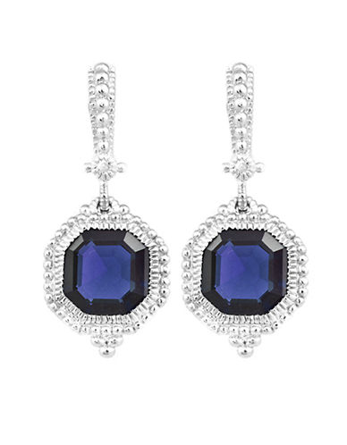 Judith Ripka Estate Ascher Cut Stone Earrings On Wire-BLUE CORUNDUM-One Size