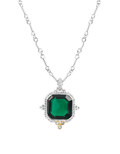 Judith Ripka Estate Ascher Cut Stone Pendant on 17 Inch chain-GREEN-One Size