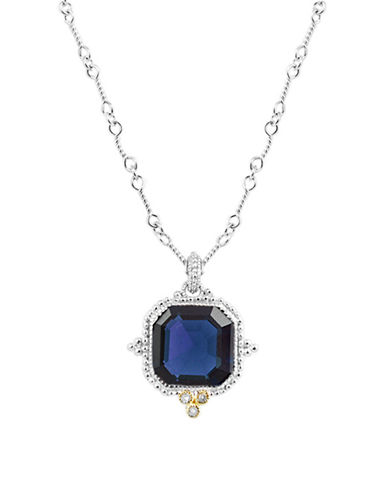 Judith Ripka Estate Ascher Cut Stone Pendant on 17 inch chain-BLUE-One Size