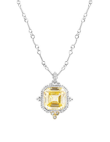 Judith Ripka Estate Ascher Cut Stone Pendant on 17 inch chain-YELLOW-One Size