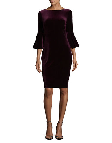 Calvin Klein Velvet Bell Sleeve Dress-PURPLE-14
