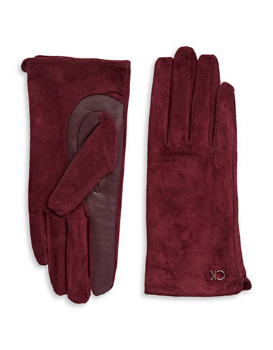 Calvin Klein Suede and Leather Gloves-AUBERGINE-Small