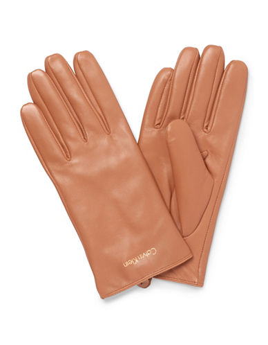 Calvin Klein Basic Leather Gloves-CAMEL-Medium