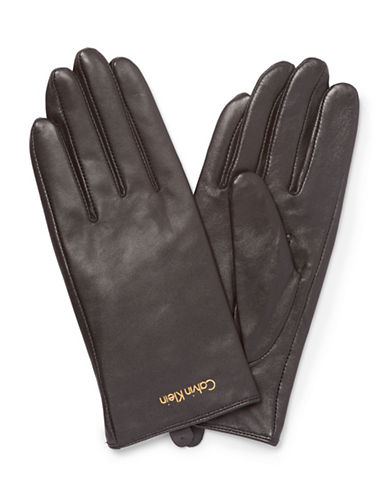 Calvin Klein Basic Leather Gloves-BLACK-Medium