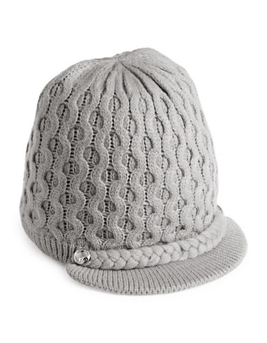 Calvin Klein Honeycomb Cable-Knit Visor Beanie-GREY-One Size