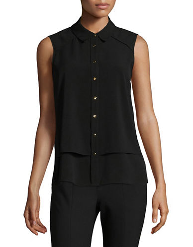 Calvin Klein Button Front Woven Top-BLACK-X-Large