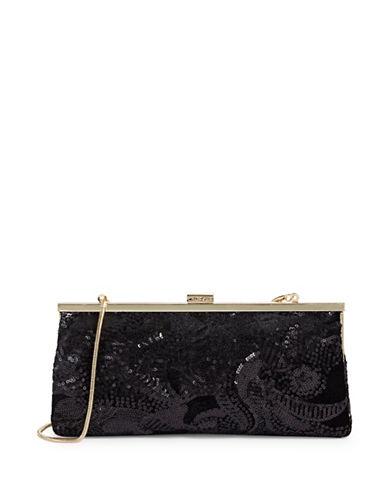 Calvin Klein Sequined Clutch-BLACK-One Size