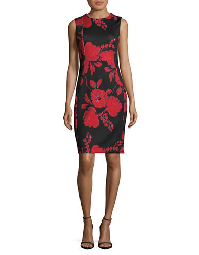 Calvin Klein Floral Sleeveless Sheath Dress-RED MULTI-10