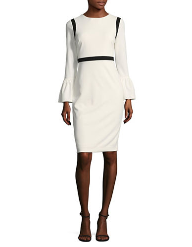 Calvin Klein Bell Sleeve Piped Sheath Dress-CREAM-10