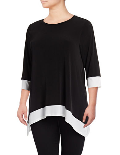 Calvin Klein Plus Colourblock Sharkbite Top-BLACK-3X