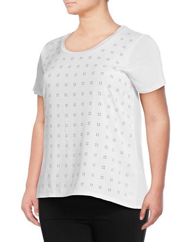 Calvin Klein Plus Studded T-Shirt-SOFT WHITE-0X