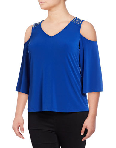 Calvin Klein Plus Plus Cold-Shoulder Shirt-CELESTIAL-2X