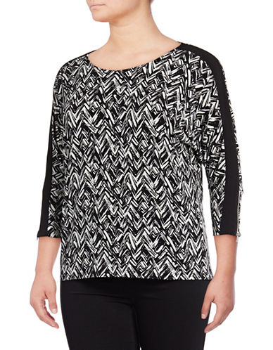 Calvin Klein Plus Printed Zip-Sleeve Dolman Top-BLACK/WHITE-0X