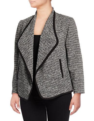 Calvin Klein Plus Piped Melange Flyaway Jacket-BLACK/WHITE-3X