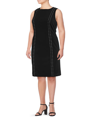 Calvin Klein Plus Vertical Stud Sheath Dress-BLACK-18W