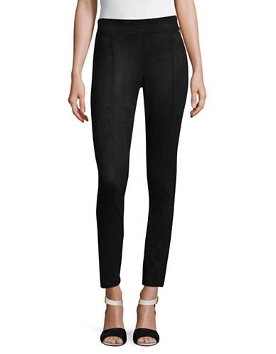Calvin Klein Allover Faux Suede Leggings-BLACK-X-Large