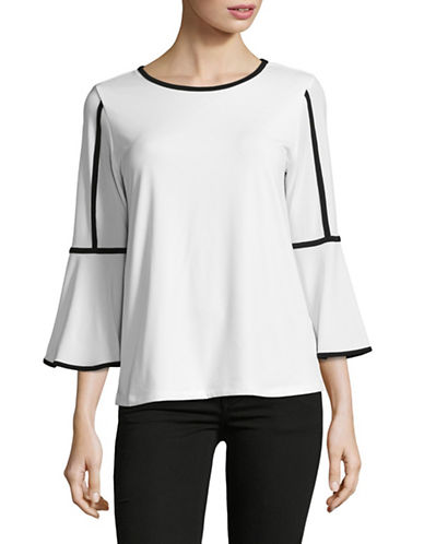 Calvin Klein Piped Bell Sleeve Top-WHITE/BLACK-X-Large