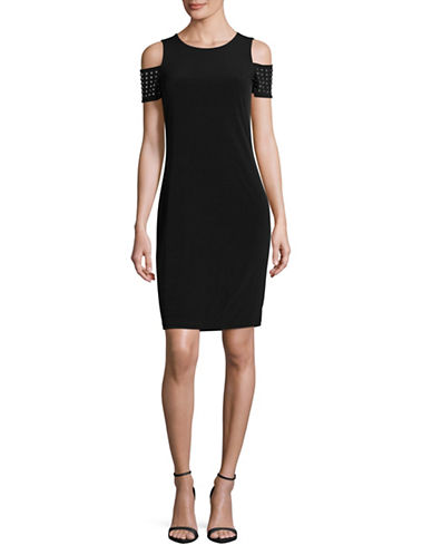 Calvin Klein Cold Shoulder Bodycon Dress-BLACK-4